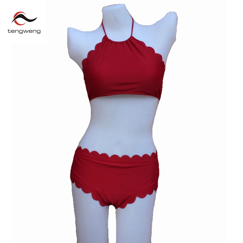 2017 kadınlar seksi kırmızı taraklı bikini set yüksek boyun mayo bandaj mayo halter fırfır baskı bathingsuit palm tree beachwear
